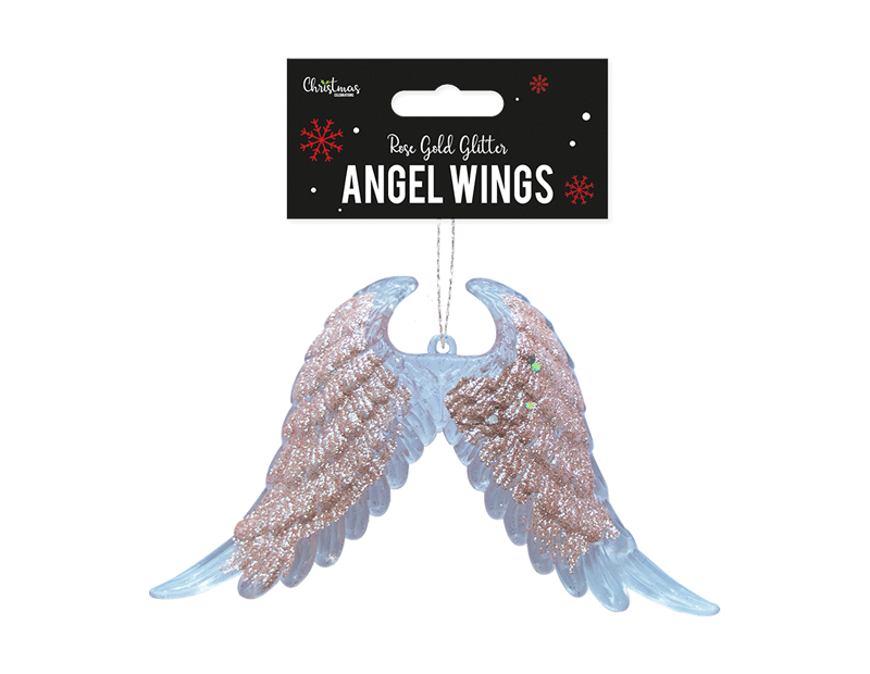 Rose Gold Acrylic Angel Wings Decoration