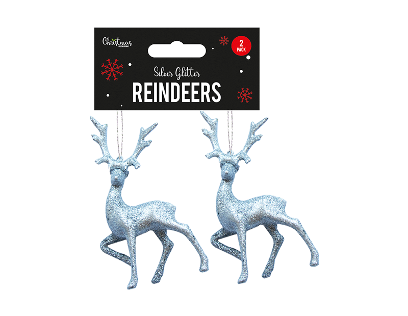Silver Glitter Reindeer Decorations - 2 Pack