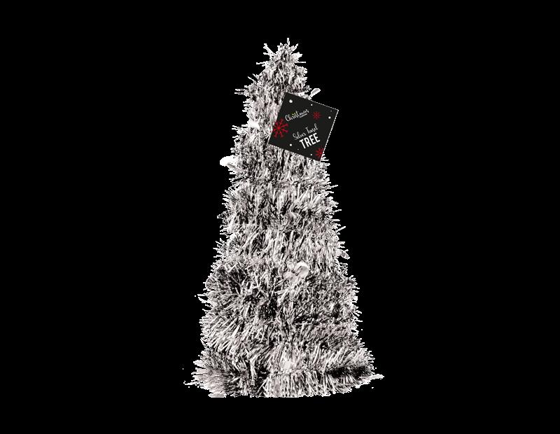 Silver Tinsel Christmas Tree 31cm