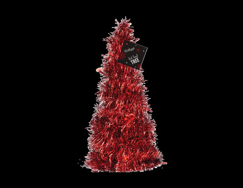 Red Tinsel Tree 31cm