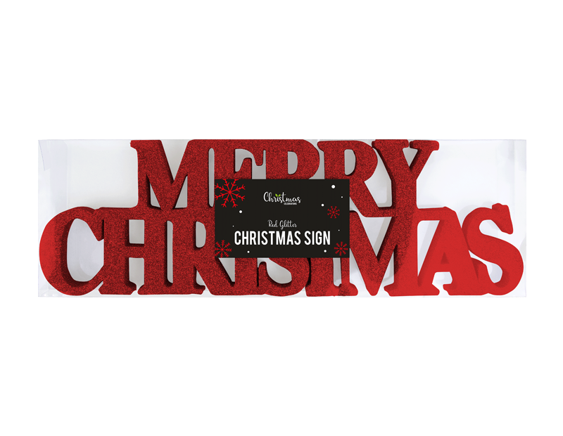 Red Merry Christmas Glitter Sign