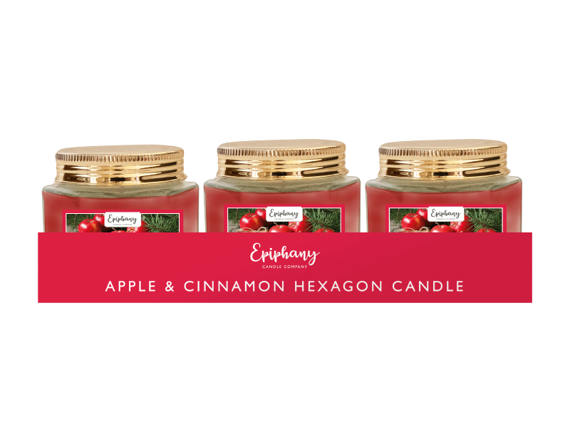 Apple & Cinnamon Hexagon Candle With PDQ