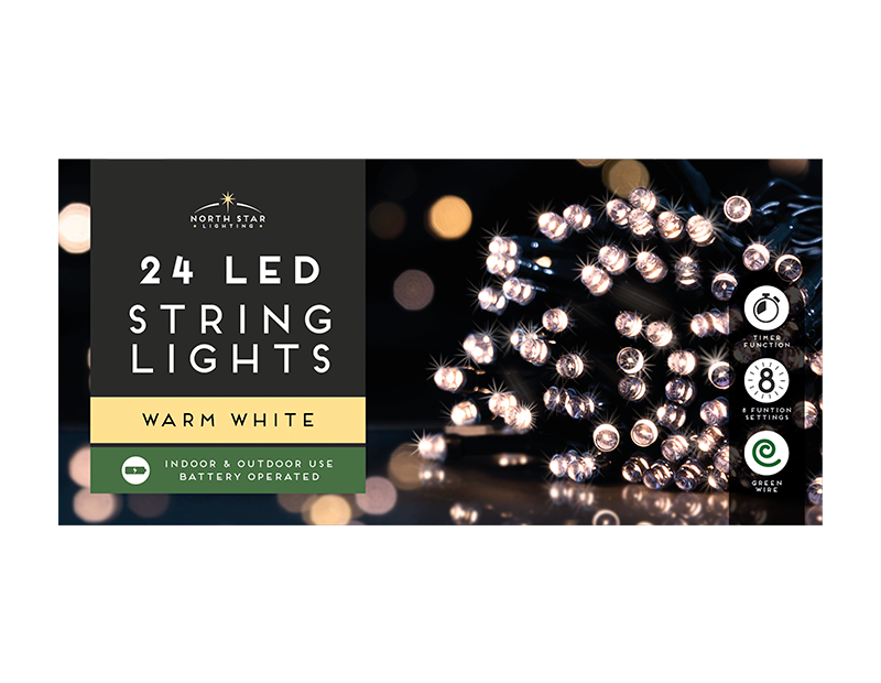 24 Led Battery Operated Lights - Warm White