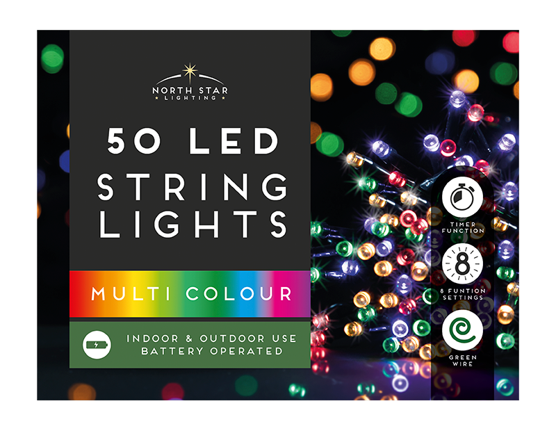 50 Led Battery Operated  Timelights - Multicoloured