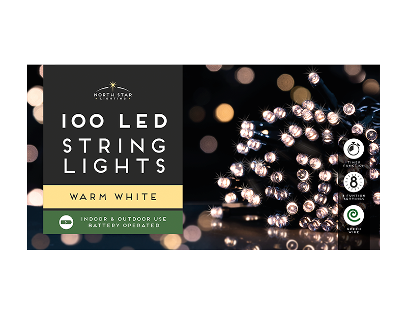 100 Led Battery Operated Lights - Warm White