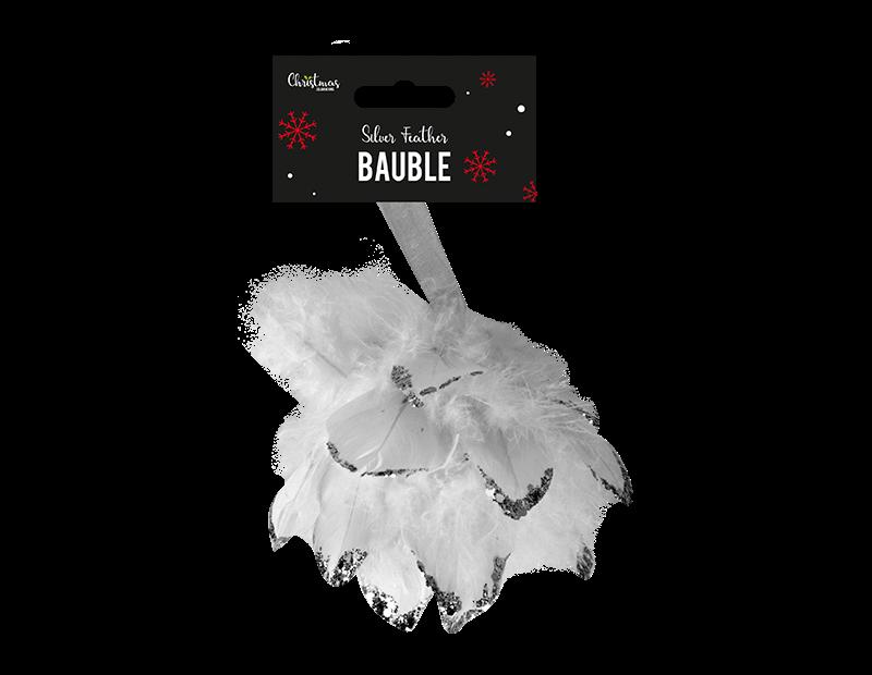 Silver Feather Bauble 10cm x 8cm