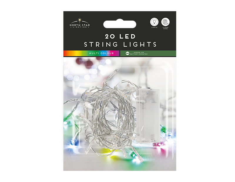 20 Led Battery Operated String Lights - Multicoloured