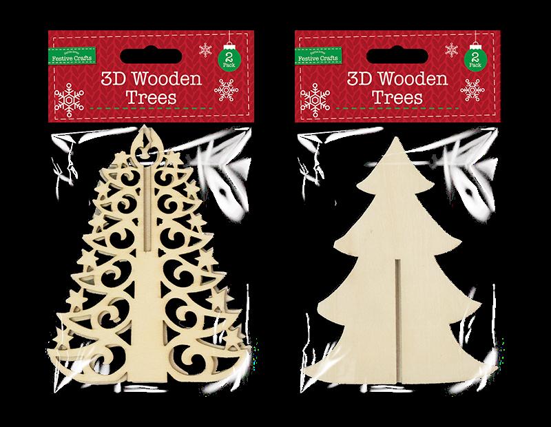 3D Wooden Filigree Tree 2 Pack