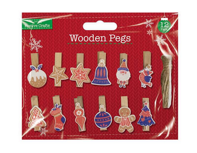 Xmas Wooden Pegs 12 Pack