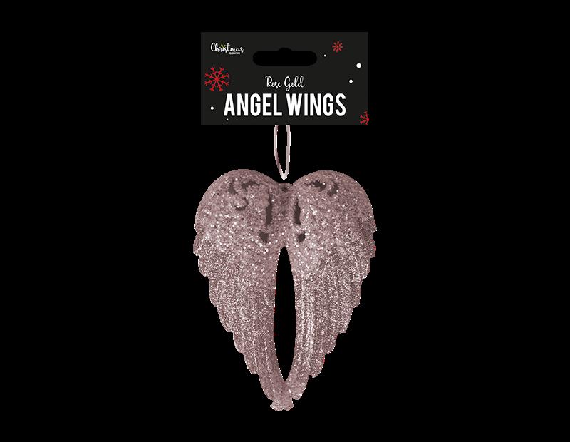 Rose Gold Glittered Angel Wings 14cm x 11cm x 2cm