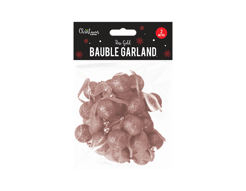 Rose Gold Bauble Garland 2m