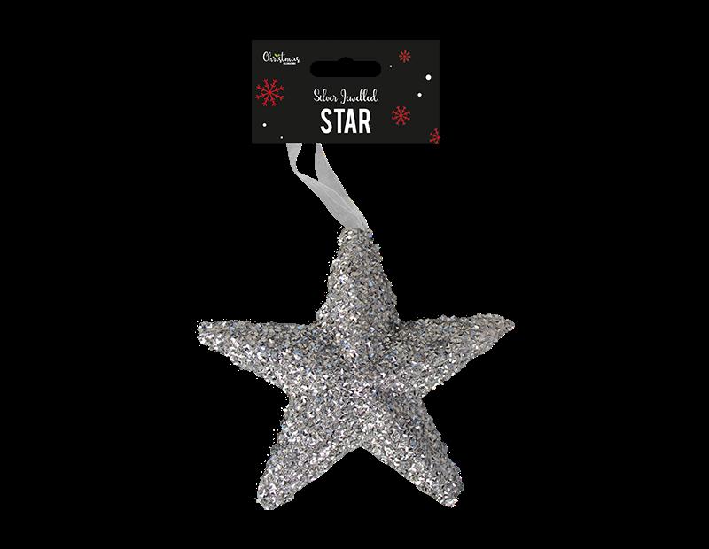Silver Extra Large Jewelled Star Decoration 18cm x 19cm x 5cm