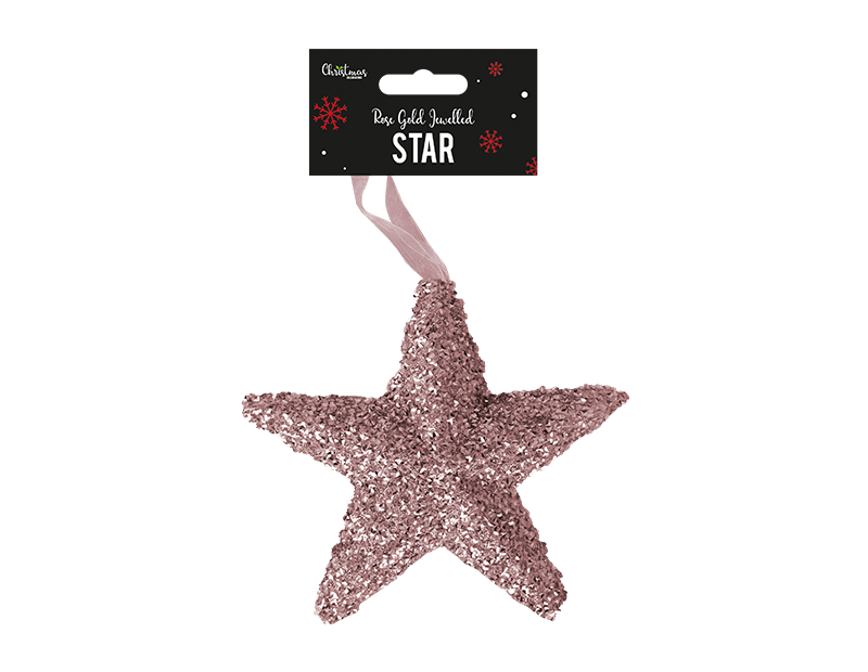 Rose Gold Extra Large Jewelled Star Decoration 18cm x 19cm x 5cm