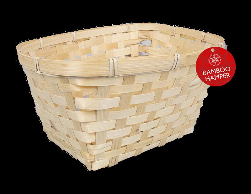 Bamboo Woven Hamper Basket 28cm x 23.5cm x 18.5cm