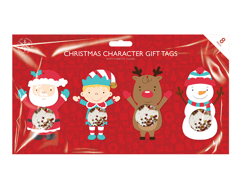 Xmas Figures Confetti Tags 8 Pack