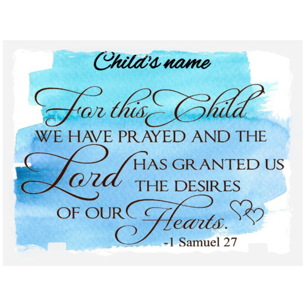 ForThis Child-Blue - Photo Panel Stone Rectangle 20x15cm