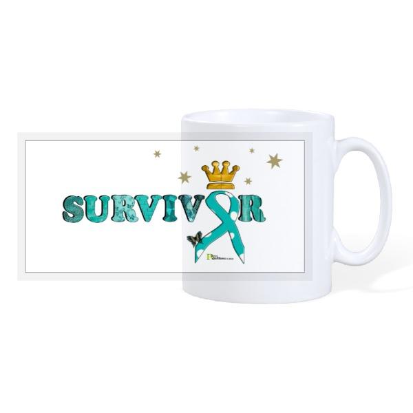 SURVIVOR teal ribbon - 10oz Ceramic Mug
