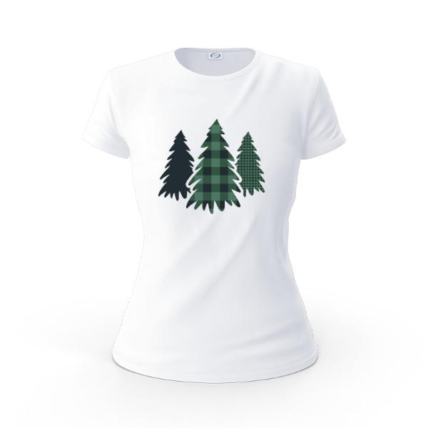 Plaid Pine Trees - Ladies Solar Short Sleeve Large Print Area