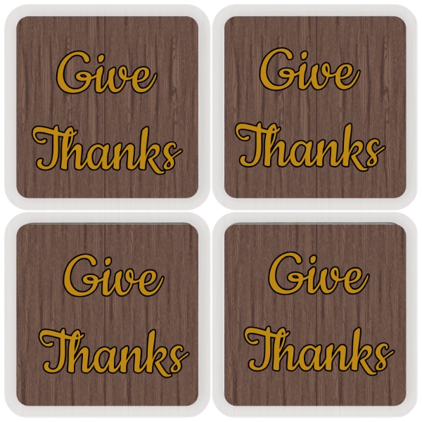 wood coaster square give thanks - Square Coaster Set 3.54""