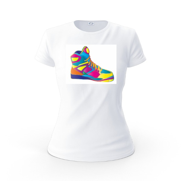 80s Sneaker Shirt - Ladies Solar Short Sleeve Small Print Area