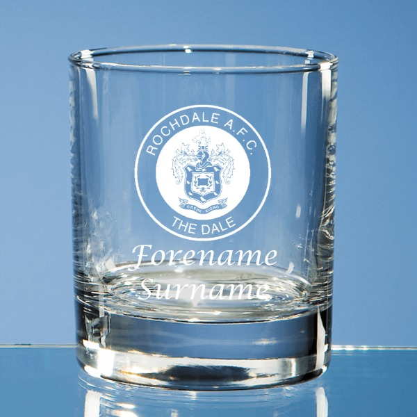 Rochdale FC Crest Old Fashioned Whisky Tumbler