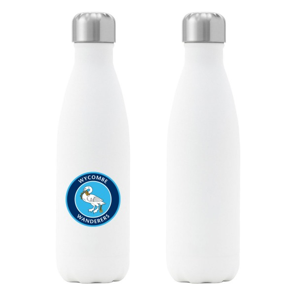 Wycombe Wanderers FC Crest Insulated Water Bottle - White
