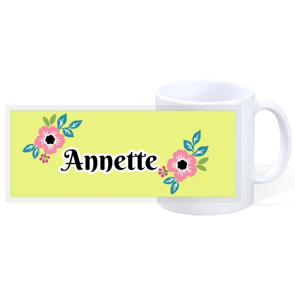 Flower with Personalize name - 11oz Ceramic Mug