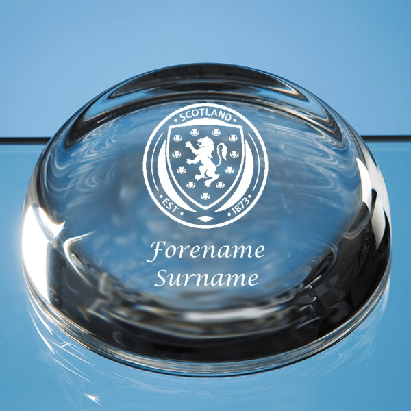Scotland Crest Optical Crystal Flat Top Dome Paperweight