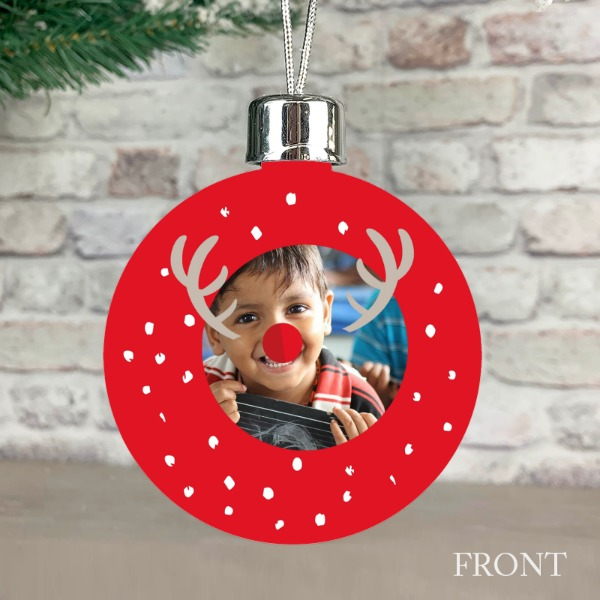 Reindeer Festive Wishes Red - Personalised Christmas Bauble