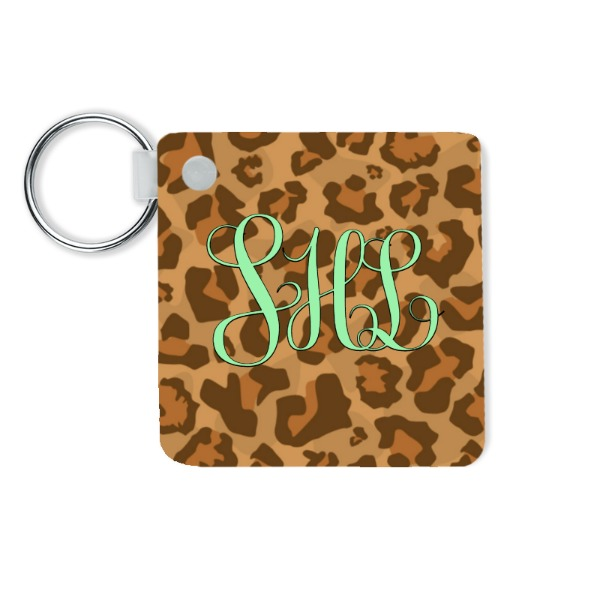 "initial leopard key chain - 2.25""x2.25""/57x57mm 2 Sided Gloss White Unisub - Key Chains - Square"