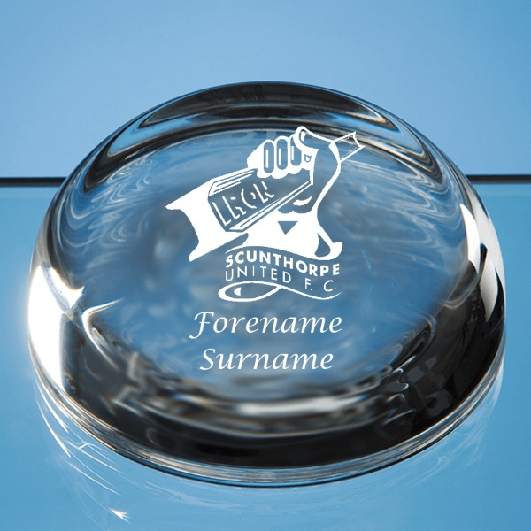Scunthorpe United FC Crest Optical Crystal Paperweight