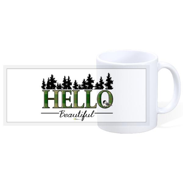 HELLO Beautiful plaid & chickadee's - 11oz Ceramic Mug
