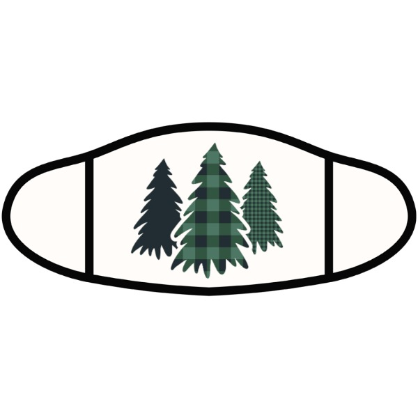 Plaid Pine Trees - Face Mask- Small