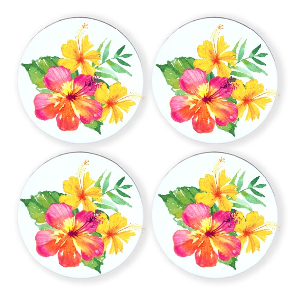Tropical Hibiscus Coasters - Round Coaster Set