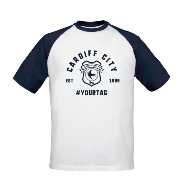 Cardiff City FC Vintage Hashtag Baseball T-Shirt