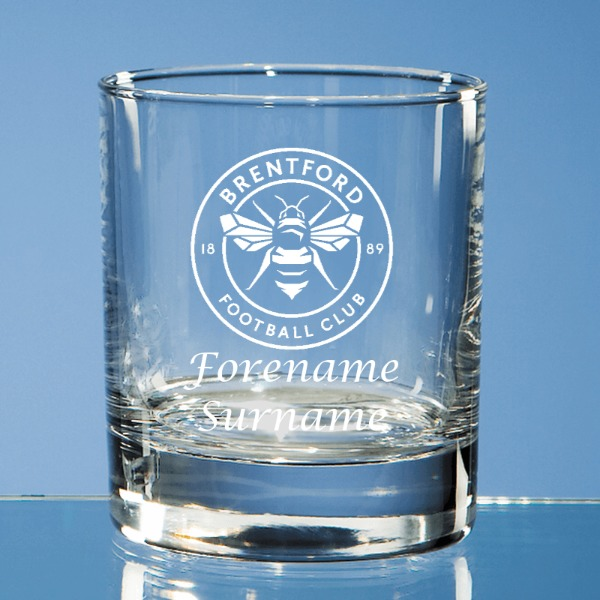 Brentford FC Crest Bar Line Old Fashioned Whisky Tumbler