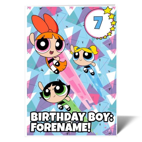 Powerpuff Girls Pattern Number Birthday Boy Card