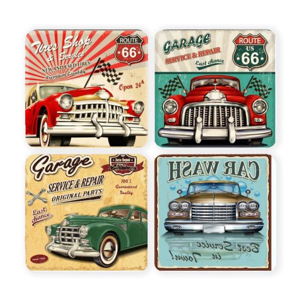 Vintage Car Sign Coasters - 3.543