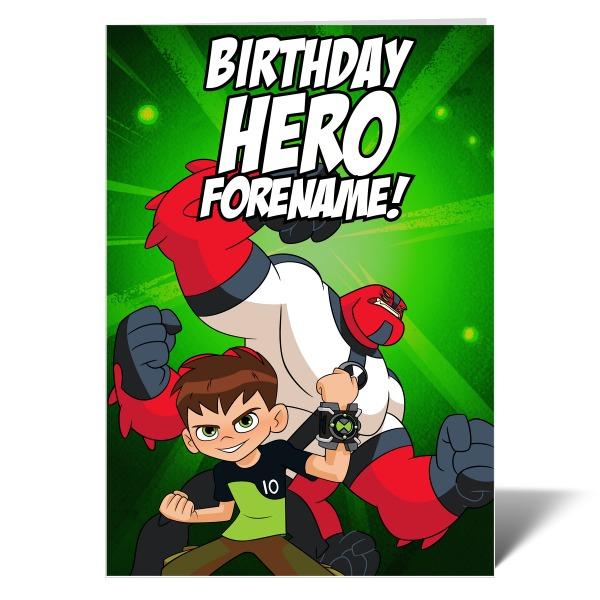 Ben 10 Four Arms Birthday Hero Card