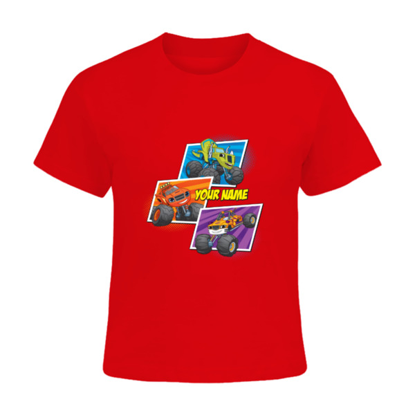 Blaze and the Monster Machines Kids T-Shirt - Zeg, Blaze and Stripes