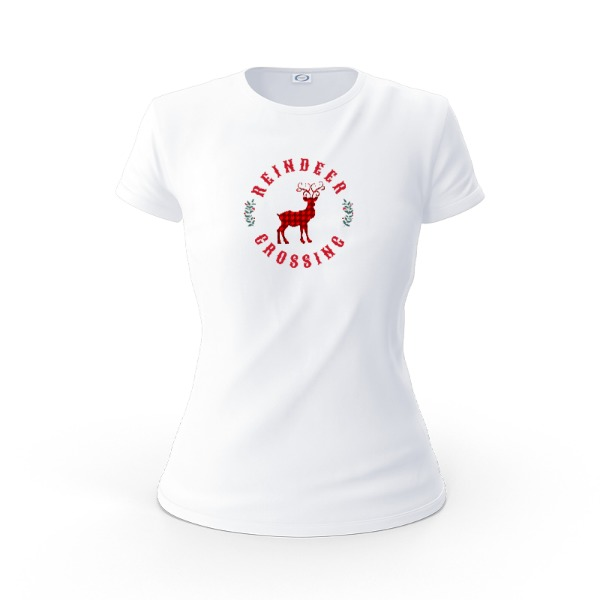 Reindeer Crossing Shirt - Ladies Solar Short Sleeve Small Print Area