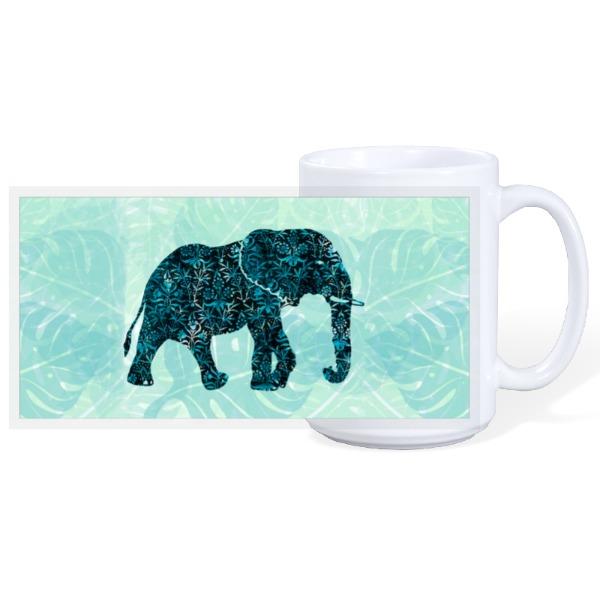 Blue Floral Elephant - 15oz Ceramic Mug