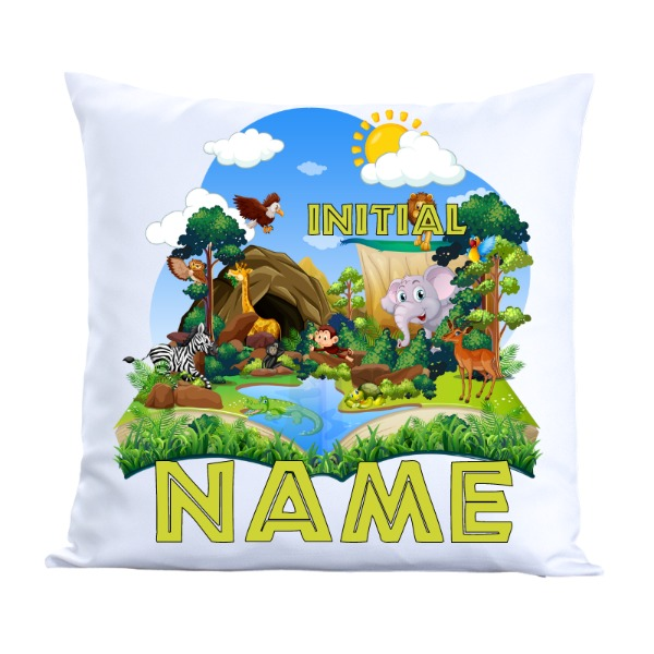 Boys Zoo Pillow 2 - Pillow Cover Polyester Canvas Square 40cm