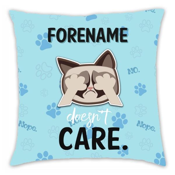 Grumpy Cat Emoji - Doesn't Care Cushion Blue