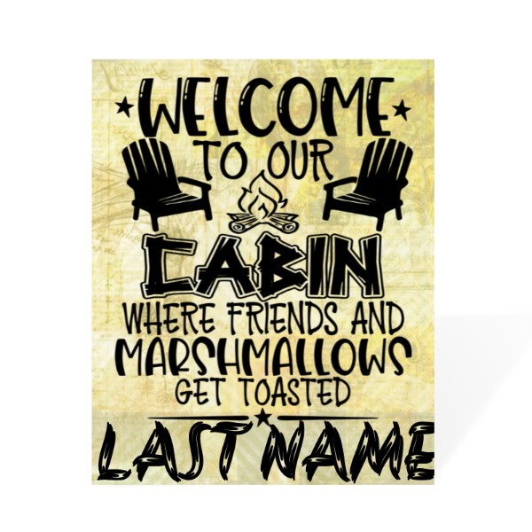 WELCOME CABIN 8X10 - Wood Gloss White/Black Back w/ Kickstand
