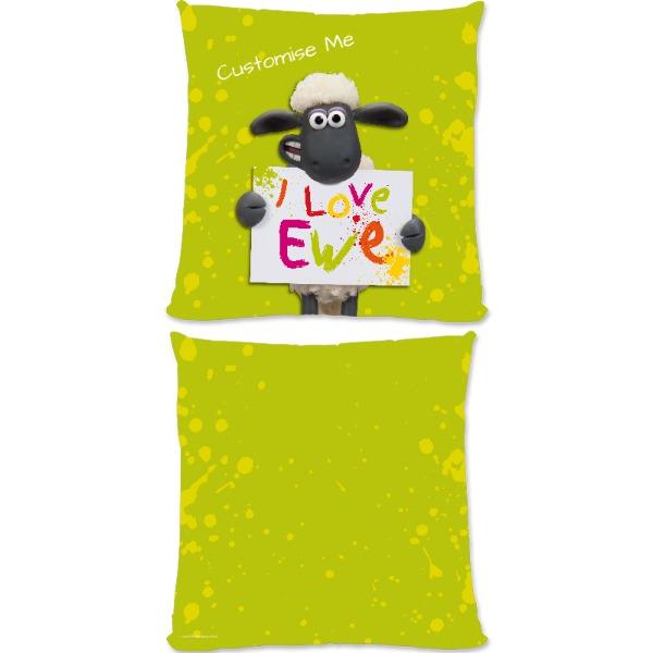 Aardman Shaun The Sheep Valentines Print Large Fiber Cushion