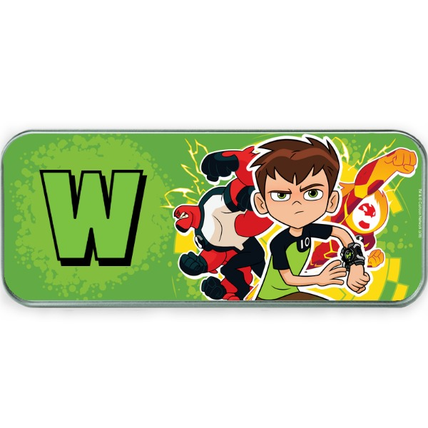 Disney Ben 10 Green Initial Silver Pencil Tin