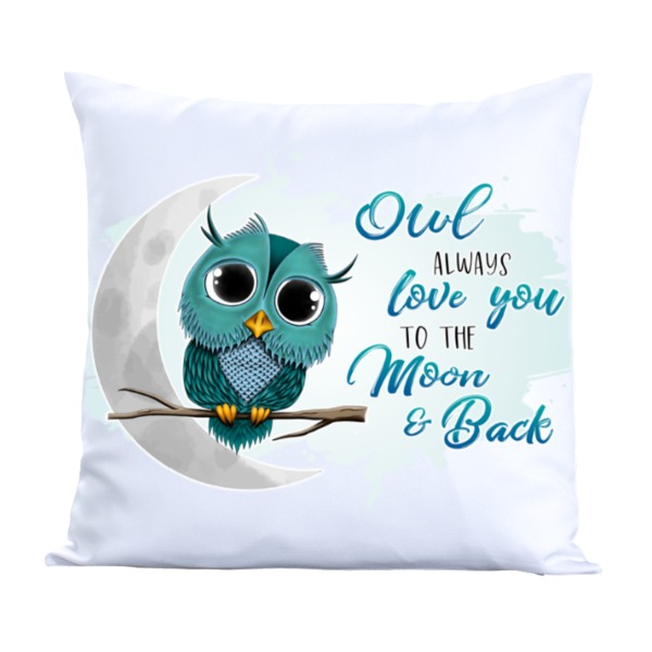 Owl Always Love You - Teal - Pillow Cover Polyester Canvas Square 40cm