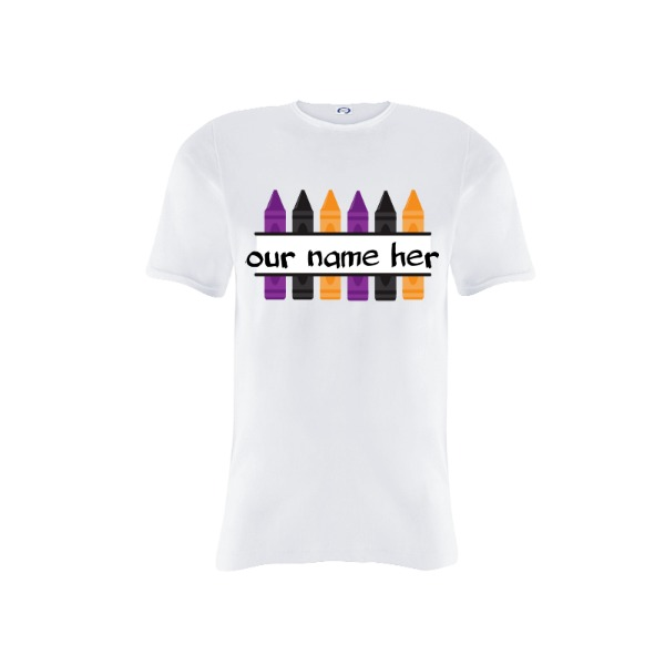 Halloween crayons (personalize your name)  - Youth Solar Short Sleeve Small Print Area
