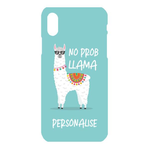 Personalised No Prob Llama iPhone X Hard Back Phone Case